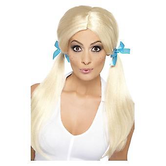 Womens Sassy Skolflicka flätor peruk maskeraddräkter tillbehör
