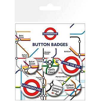 London Underground 6 Pin Badges in Pack (ge)