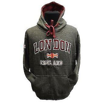 Le129zcm gwcc™ unisex london england zipped hooded sweatshirt charcoal