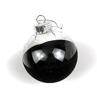 Einzelne 8cm schwarz Glitter klar shatterproof Weihnachtsbaum Bauble Dekorationen