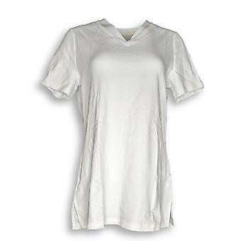 Isaac Mizrahi Live! Women's Top Essentials V Neck Tunic White A272505