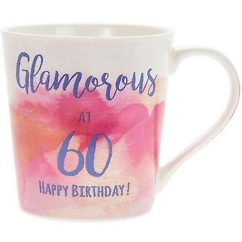 Lesser & Pavey Watercolour Happy Glamorous 60th Mug