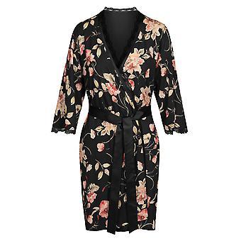 Rosch 1193616-16403 Women's New Romance Black Floral Cotton Robe