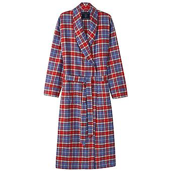 British Boxers Thorncliffe Two Fold Flannel Robe - Red/Blue