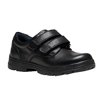 CLARKS Velcro School Shoes Mentor Black