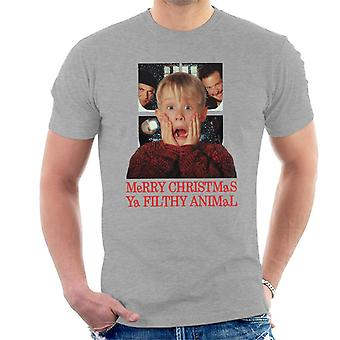 Home Alone Window Merry Christmas Ya Filthy Animal Men's T-Shirt