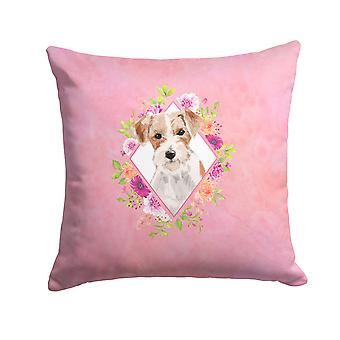 Jack Russell Terrier Pink Flowers Fabric Decorative Pillow