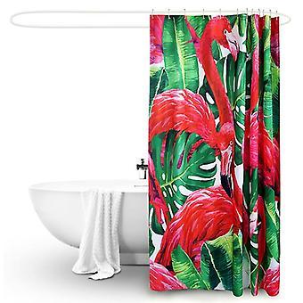 Polyester Waterproof Bathroom Shower Curtain Flamingo 180X200Cm