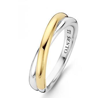 Ring Ti Sento 1953SY - ring 2 ringar sammanflätad s pengar Bi färger Dor