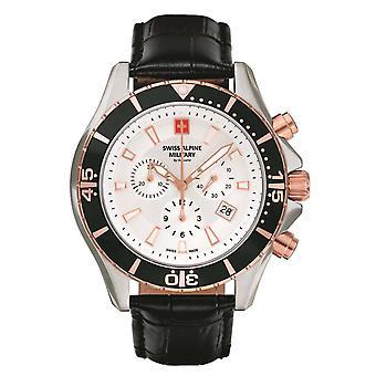 Sveitsin Alpine sotilaallinen Miesten Watch Chronograph analoginen kvartsi 7040.9552 SAM nahka