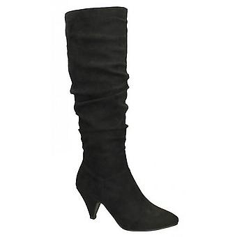 Spot On Womens/Ladies Rouched Knee High Boots