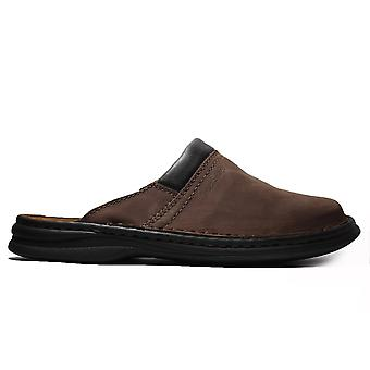 Josef Seibel Max Brown Nubuck Leather Mens Slip On Mule Shoes