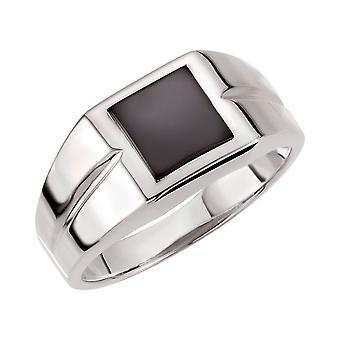 925 Sterling Ezüst 8x8mm polírozott férfi szimulált Onyx Gyűrű Méret 11 Ékszer Ajándékok férfiaknak