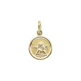 14k Yellow Gold 10mm Polished Round Religious Guardian Angel Medal Pendant Necklace Jewelry Gifts for Women