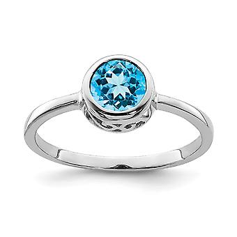 925 Sterling Silver Open back Polido Blue Topaz Round Ring Jewely Giftsy for Women - Ring Size: 6 a 8