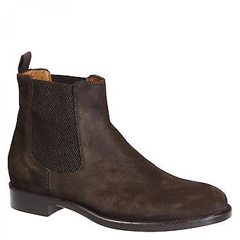Leonardo Shoes Męskie i apos;ręcznie robione buty chelsea z ciemnobrązowej skóry zamszowej