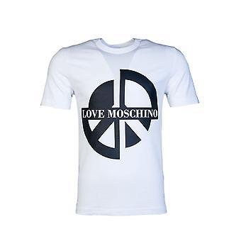 Moschino T Shirt Frieden Logo Druck M4731 3a E1811