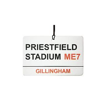 Gillingham / rua Priestfield estádio sinal refrogerador de ar do carro
