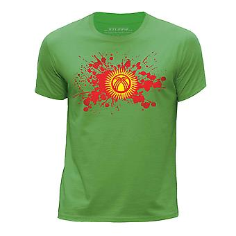 STUFF4 Boy's Round Neck T-Shirt/Kyrgyzstan Flag Splat/Green