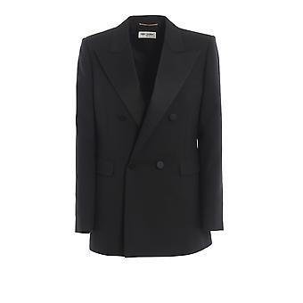 Saint Laurent 568454y404w1000 Women's Black Cotton Blazer