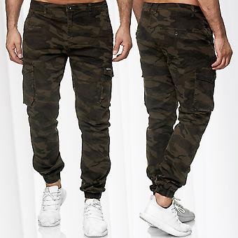 Men's trousers Cargo jogger stretch waistband Camouflage leisure military casual