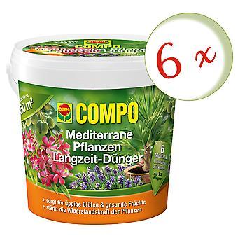 Sparset: 6 × COMPO النباتات البحر الأبيض المتوسط الأسمدة على المدى الطويل، 1.5 كجم