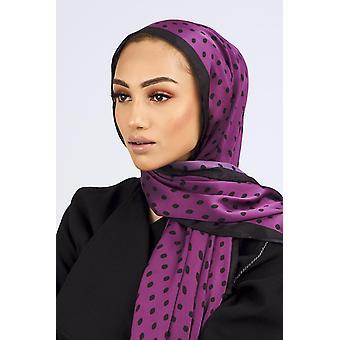Satin scarf in black & purple polka print