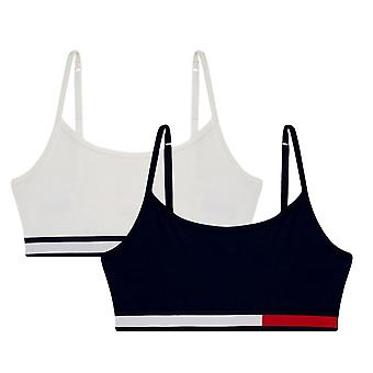 Tommy Hilfiger Girls 2 Pack Colour Block Cotton Bralette - Navy Blazer/Snow White
