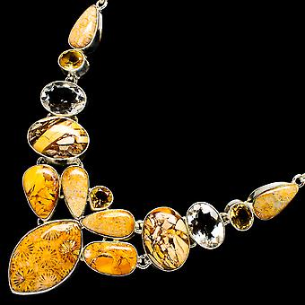 "Fossil Coral, Brecciated Mookaite, Citrine Necklace 18"" (925 Sterling Silver)  - Handmade Boho Vintage Jewelry NEC12111"