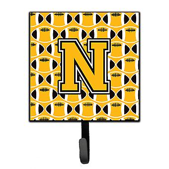 Letter N Football Black, Old Gold and White Leash or Key Holder