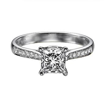 0.97 Carat F SI1 Diamond Engagement Ring 14K White Gold Solitaire w Accents Channel Set Cathedral