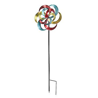 Colorful Metal Crescent Flower Wind Spinner Garden Stake 60 Inch