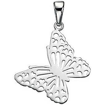 Inizii tagliato farfalla ciondolo - argento