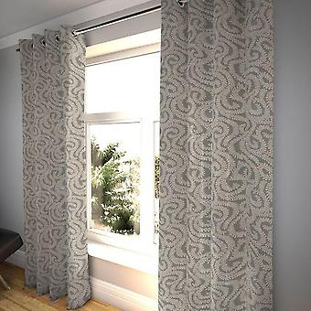 Mcalister textiles little leaf charcoal grey curtains