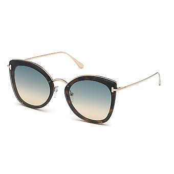 توم فورد شارلوت TF657 53P شقراء هافانا / النظارات الشمسية التدرج الأخضر