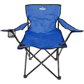 Milestone Lightweight Foldable Steel Camping Chair With Cup Holder Blue