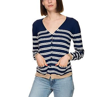 Aggel Knitwear Women's -White Striped Cardigan