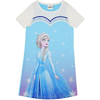 Frozen Elsa Snowflake Girl's Kids Blue Short Sleeved Pyjama Nightie Night Dress