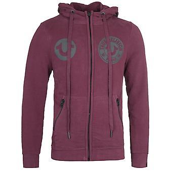 True Religion Multi Logo Port Red Zip-Through Hoodie