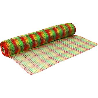 Foiled Traditional Christmas 53cm x 9.1m Deco Mesh Roll for Wreath Making & Floristry