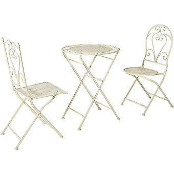 SoBuy OGT33-W, Foldable 3 Pieces Metal Outdoor Garden Bistro Balcony Furniture Set, Folding Table and 2 Chairs, Antique Cream