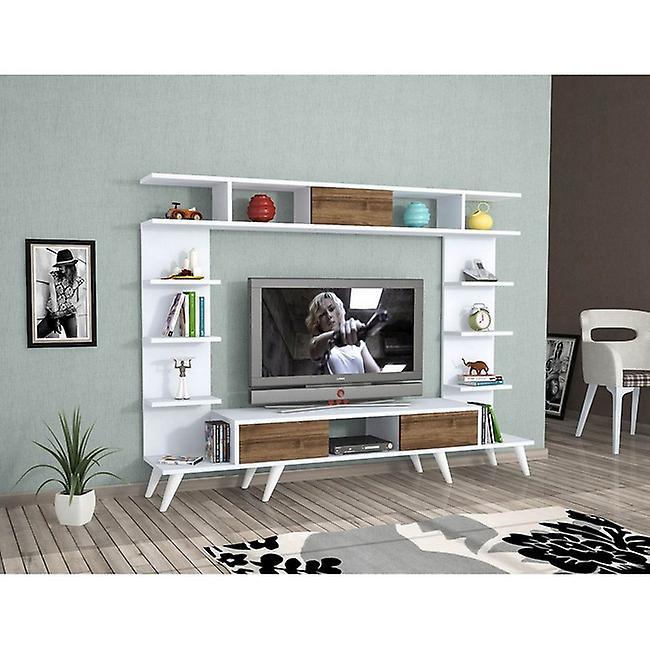 Mobile Porta TV Pan Color Bianco, Rovere in Truciolare Melaminico, PVC 180x35x135 cm