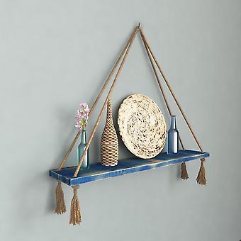 Halatli Regal Farbe blau, Ecru Holz, Juta, L50xP15xA25 cm