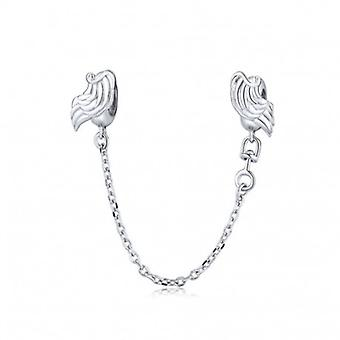 Sterling Silver Safety Chain Wings - 6602
