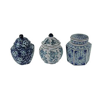 Blue and White Porcelain Decorative Lidded Jars Set of 3