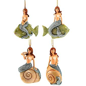 Mermaids Riding Fish and Shells Christmas Holiday Ornaments Set of 4
