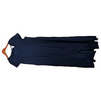 Masseys Plus Jumpsuits High-Low Short Sleeve Tunic Navy Blue