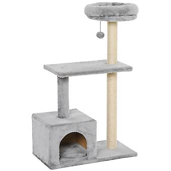 PawHut Cat Tree Condo with Sisal-Covered Scratching Posts Cat Tower Play House Funny Ball Activity Center for kittens Cat Tower Furniture Grey