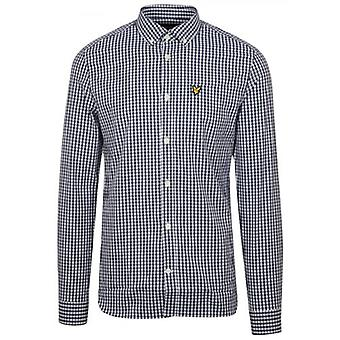Lyle & Scott Navy & White Gingham Long-Sleeve Shirt