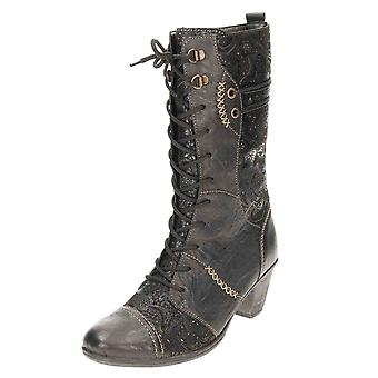 Remonte D8791-03 Mid Calf Boots Lace Up Zip Leather Vintage Style